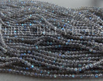 """13"""" strand AAA LABRADORITE faceted gem stone round beads 3mm - 3.5mm blue green gold flash"""
