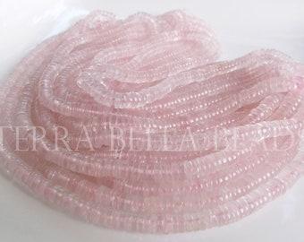 "8"" half strand ROSE QUARTZ smooth round gem stone heishi rondelle beads 4.5mm 5mm"