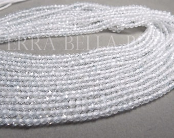 """13"""" AAA WHITE TOPAZ faceted gem stone rondelle beads 3.5mm clear calibrated"""