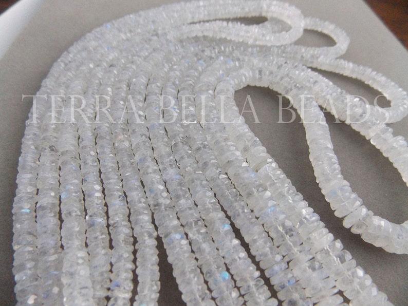 5.5mm 8 strand RAINBOW MOONSTONE faceted gem stone wheel rondelle beads 5mm
