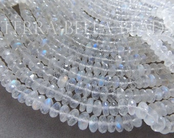 """4"""" strand AAA RAINBOW MOONSTONE faceted gem stone large rondelle beads 6mm 6.5mm 7mm"""
