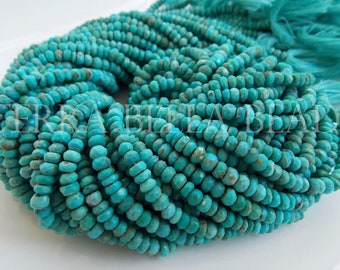 """6.25"""" natural SLEEPING BEAUTY TURQUOISE faceted gem stone rondelle beads 4mm blue"""