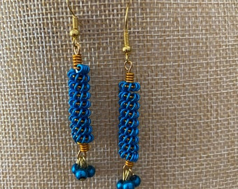 Coiled Earrings in Peacock Blue and Gold