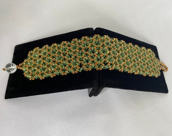 Beaded Cuff in Green and Gold