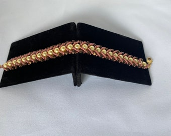 Golden Pearls with Mauve and Bronze Side Beads