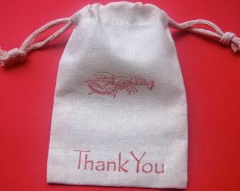 Lobster Muslin Bags / Set of 10 / Perfect for Beach Weddings