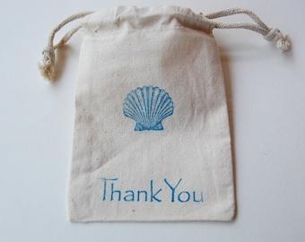 Seashell Muslin Bags / Set of 10 / Perfect for a Beach Wedding