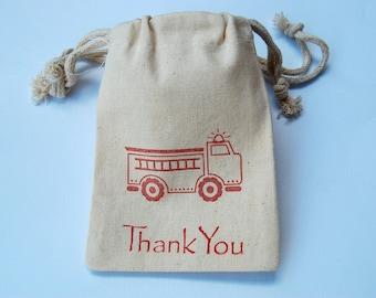 Firetruck Muslin Bags / Set of 30/Favor Bags
