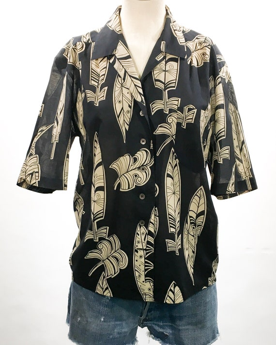 1980s Mondi Black & Tan Feather Print Cotton Top