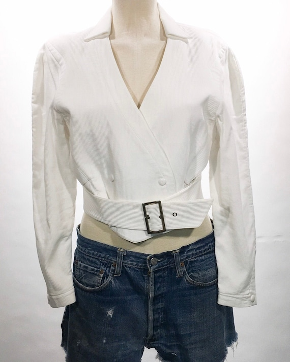 1980s Thierry Mugler White Belted Jacket