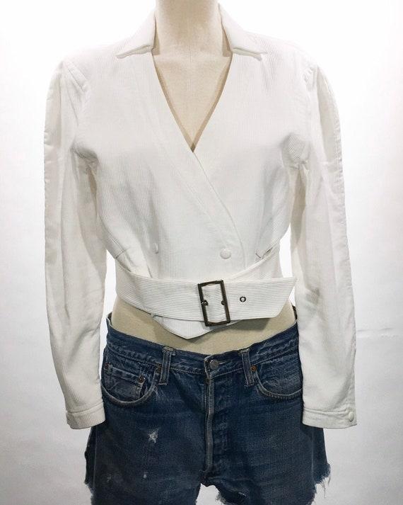 1980s Thierry Mugler White Belted Jacket - image 1