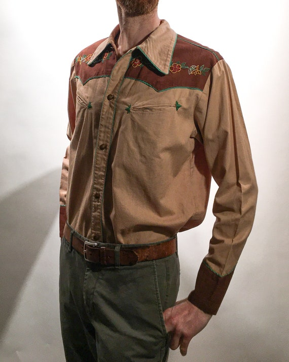 1940s Western Hand Embroidered Men's Slim Shirt