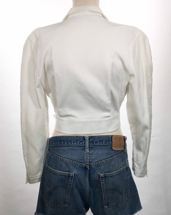 1980s Thierry Mugler White Belted Jacket - image 3