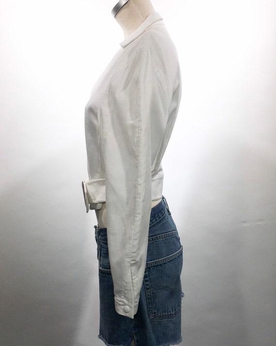 1980s Thierry Mugler White Belted Jacket - image 5