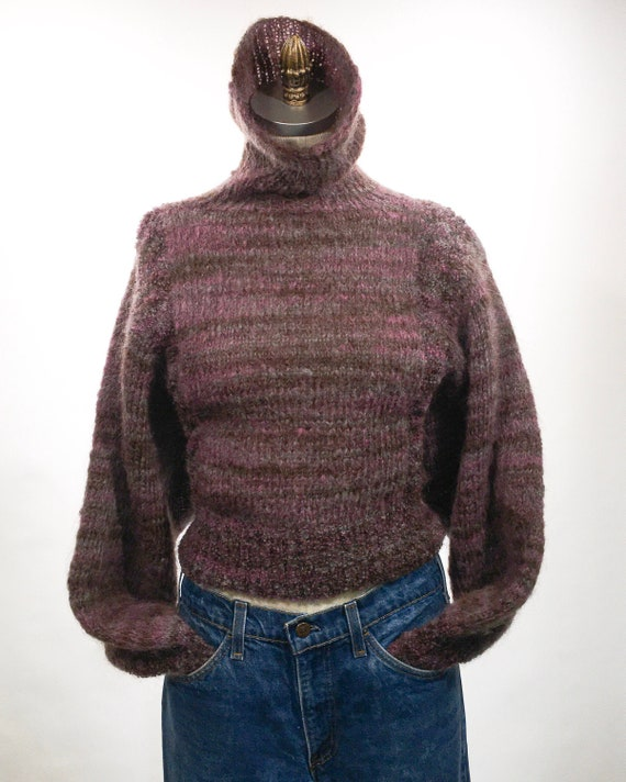 1980s Lavender Cropped Mohair Hand Knit Sweater