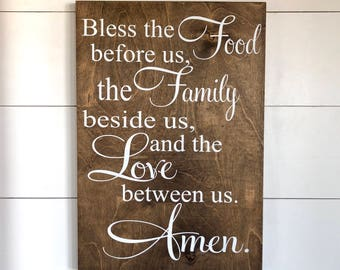 Bless the Food Before Us, the Family Beside Us, the Love Between Us,  Amen - Subway Sign - Farmhouse Sign - Home Decor - Large Wood Sign