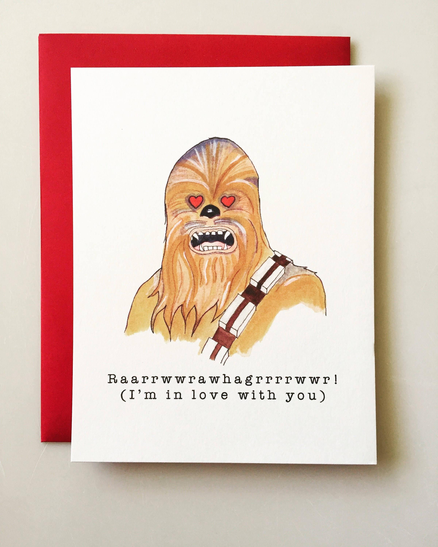 Chewbacca Valentines Day Card Star Wars Valentine funny