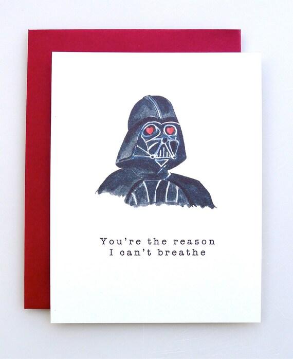 Valentine S Day Card Darth Vader Funny Valentine Star Etsy