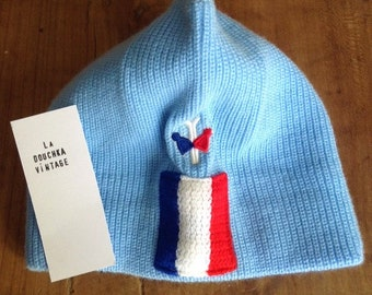 9eaac25aecd884 Unique 1970s Men   Women Winter Knit Beanie Ski Hat - Baby Blue   Tricolor  French Flag Patch - Fashion Old School Style - Rare Vintage-New