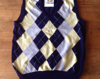 558f7a2df978c French 1970s Men Vintage Tank Top Sweater Jumper Vest   Argyle Knit - Chic  Navy Blue and Gray Colors - Made in Italy - New - M   L