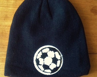 93a7f7ef363 French Men Vintage Winter Beanie Ski Hat with Soccer Ball Patch - Black &  White Knit - Perfect Soccer / Football Fan Accessory - New