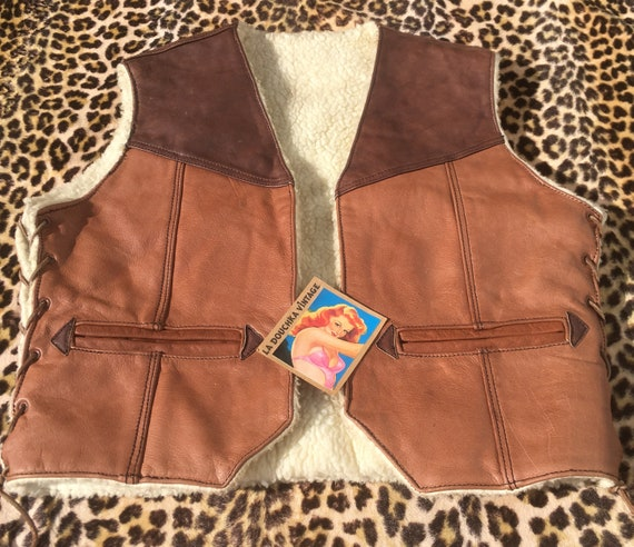 French 1960s Men WESTERN LEATHER VEST~ Faux / Fake