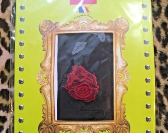 French Designer Berthe aux Grands Pieds Pantyhose Tights - Dark Purple with Red Roses & Leaves - Made in France - New - S / M