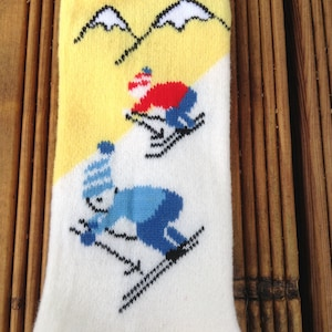 French 1950s Vintage Kid Infant High Socks Ski Theme MADE IN FRANCE 01 year NewOld Stock