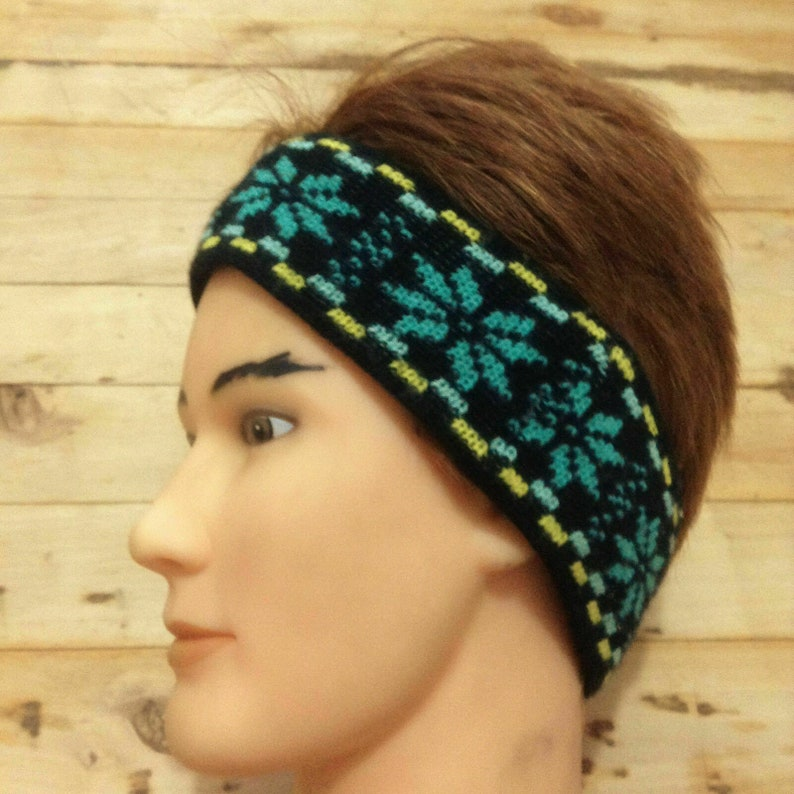 French 1970s WomenMen Winter Ski Knitted Headband Ear Warmer New MADE IN FRANCE Bright Colors /& Snowflakes