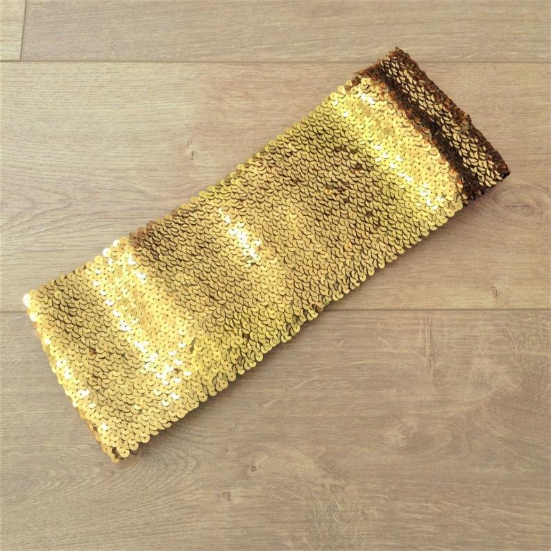 M ! New Eye Catcher Gold Sequins French Women Studio 54 Disco Disco Wide Stretch Belt