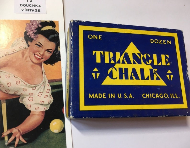 New in Vintage Box Lot of 12 Made in the USA Great Triangle 1950s Billiard Chalk