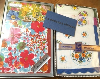 French 1950s/1960s Women Handkerchiefs - Floral Print Cotton - Lot of 12 - MADE IN FRANCE - New in Box