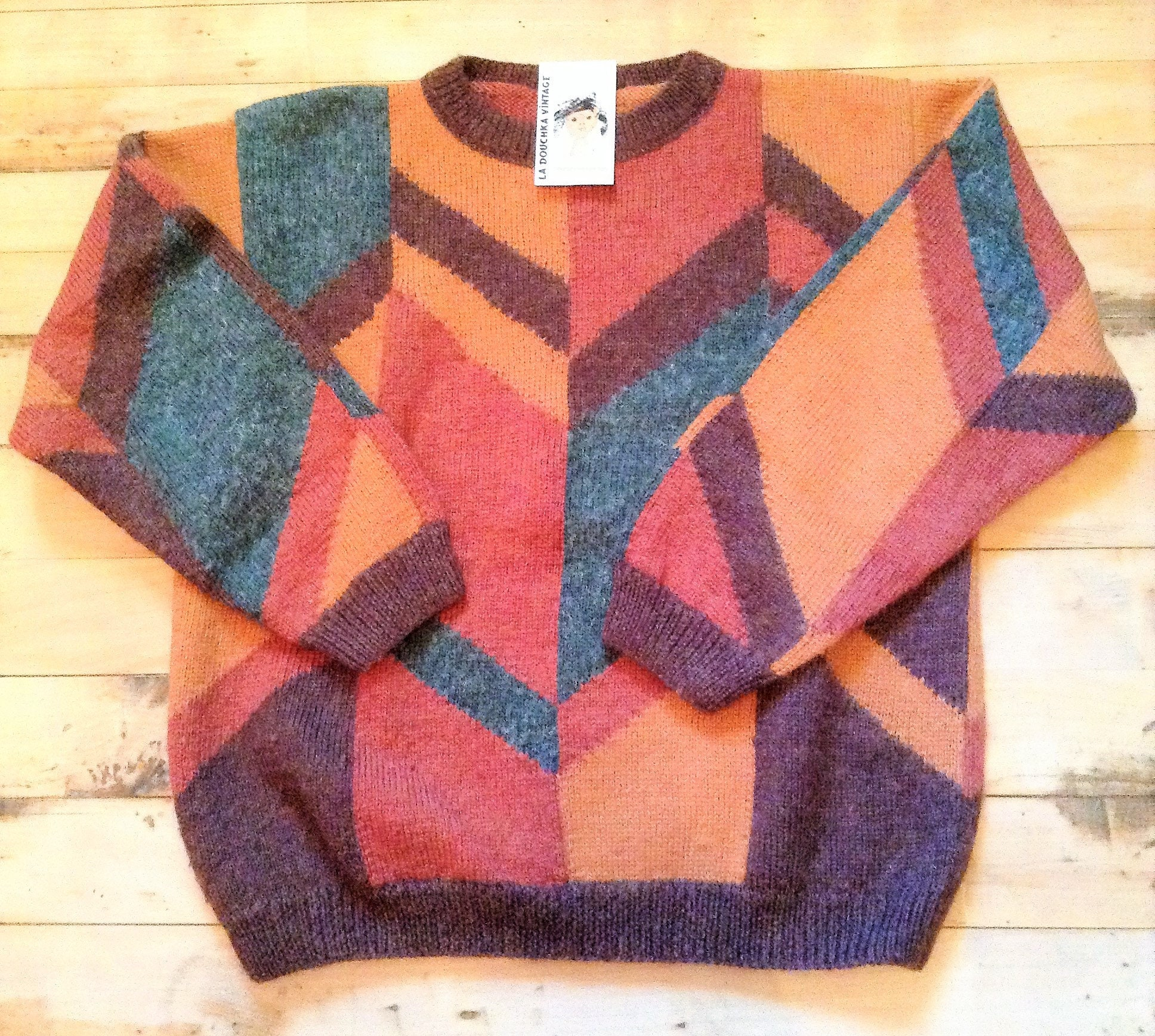 French 1980s Men Vintage Winter Hand Knitted Knitted Hand Wool