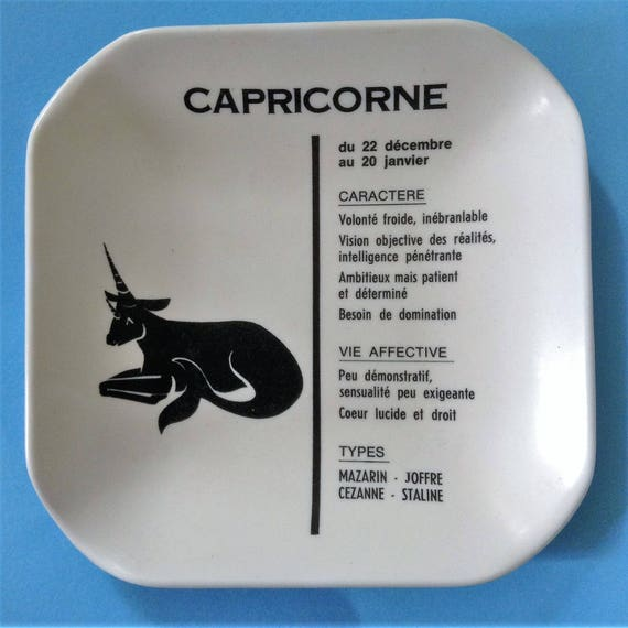 Vintage 1960s Zodiac Astrological Sign Astray Tray Trinket Bowl French Text Capricorn Made In Italy New 4 5 X 4 5 Inches