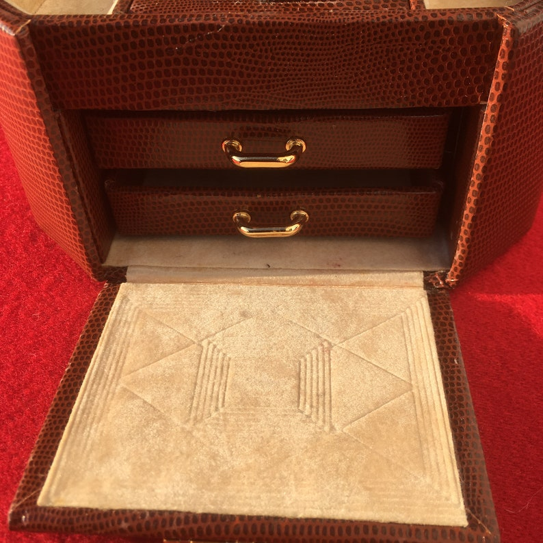 Chic Sir Rondo/'s 1980s Woman Travel JEWELLERY BOX /& KEY ~ Snake Print Embossed Leather ~ Made in Italy ~ New  Unused Vintage