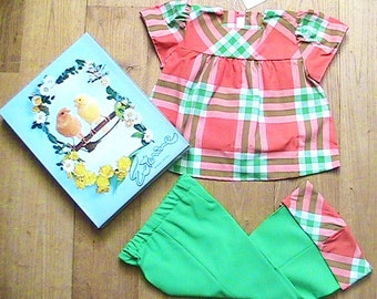 French 1960s Baby Girl Groovy Outfit - Plaid Top & Apple Green Bell Bottom Pants - New in Original Vintage Box - 18 m