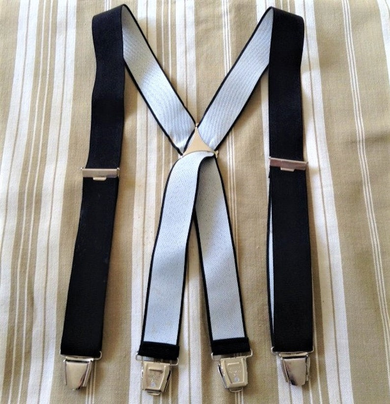 Timeless 1960s Men Vintage Clip-On Suspenders Made in Germany Rockabilly Style New Wide X-Back Design /& Black Web