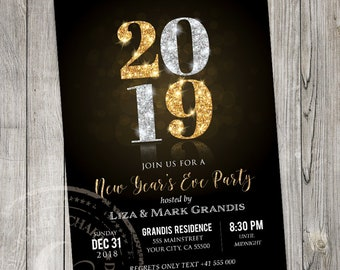 new years eve party invitation template 2019 elegant black and gold holiday printable invite
