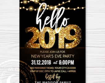 hello 2019 new years eve party invitation 2019 new year invite elegant black and gold holiday printable invite