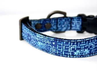 Indigo Batik Dog Collar - Blue, light blue - Antique Brass