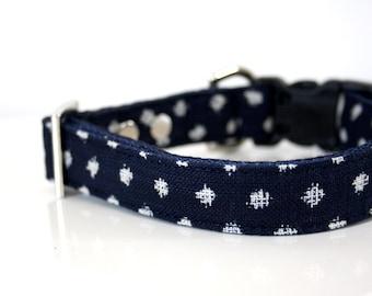 Japanese indigo snow polka dot Dog Collar - Silver