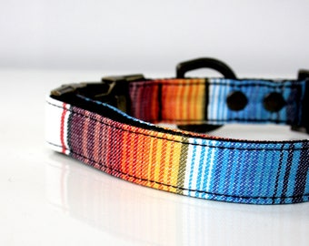 Mexican BOHO style striped Dog Collar - Antique Brass