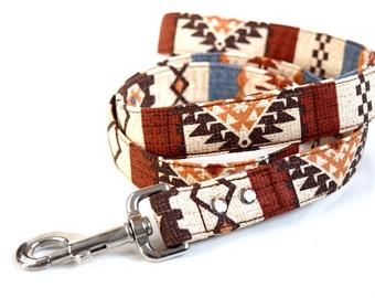 Southwestern Dog Leash - Brown, blue, orange