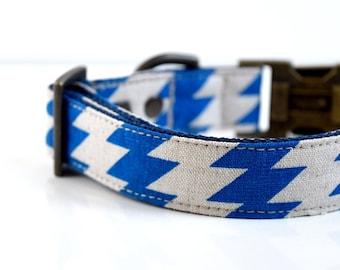 Cotton Linen Zig Zag Dog Collar - Royal Blue- Antique Brass