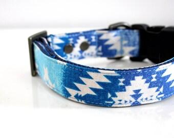 Ombre Southwestern BOHO Dog Collar - ocean blue - Antique brass