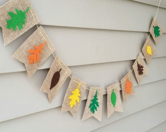 SALE Autumn Felt Leaves on Khaki Burlap Bunting