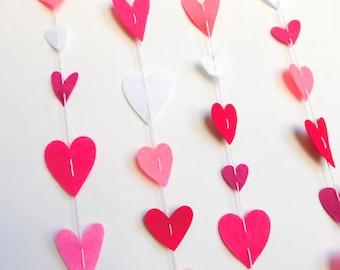 Felt Heart Garland Vertically Hanging