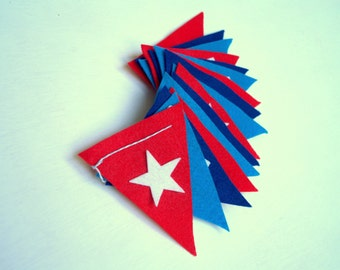 Red White and Blue Happy Birthday Felt Banner Bunting