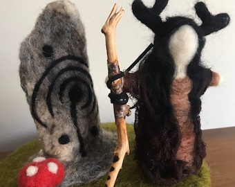 Elen of the Ways. Needle Felted Doll and Standing Stone #1
