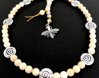 Blessed Bee. Celtic Soul Prayer Beads with Honey Jade #2. Ready to ship. Ship Worldwide